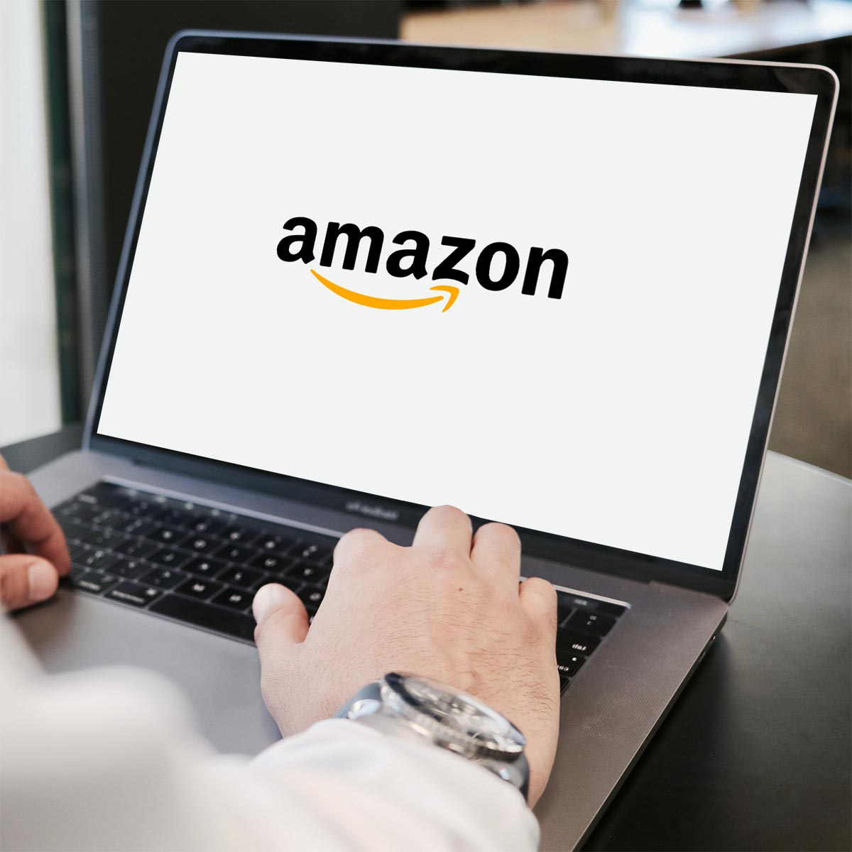 Amazon Logo on Laptop - Fulfilment